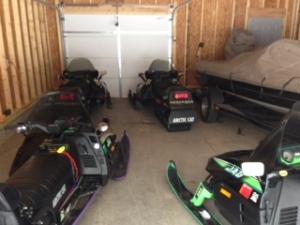 Sleds in garage